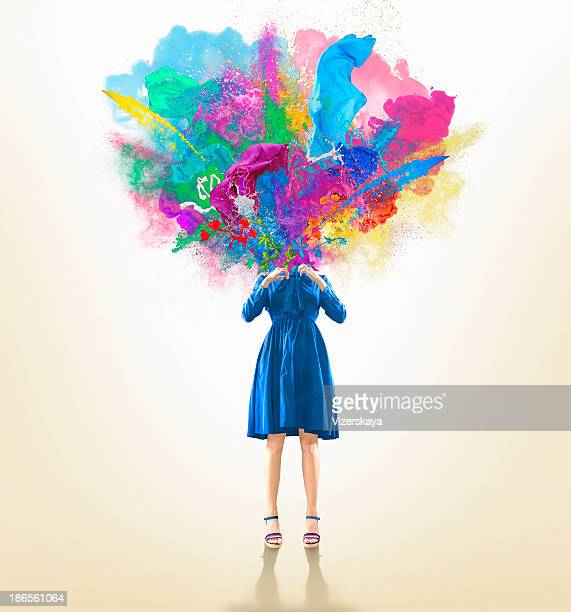 the blown-up head - imagination stock pictures, royalty-free photos & images