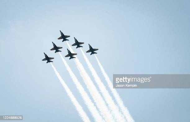 The Blue Angels are seen flying over downtown on May 14, 2020 in Nashville, Tennessee.