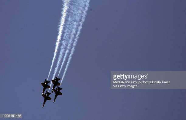 The Blue Angels fly during a practice session for the Fleet Week air show in San Francisco, Calif. On Friday, Oct. 9, 2009. The air show is scheduled...