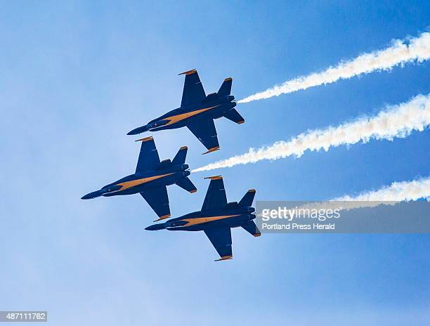 The Blue Angels fly in diamond formation at the Great State of Maine Airshow at Brunswick Landing in Brunswick ME on Saturday September 5 2015 Photo...