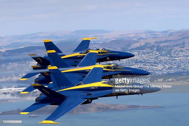 The Blue Angels fly in formation over the San Francisco Bay in San Francisco Calif on Thursday Oct 4 2018 San Francisco's Fleet Week is a celebration...
