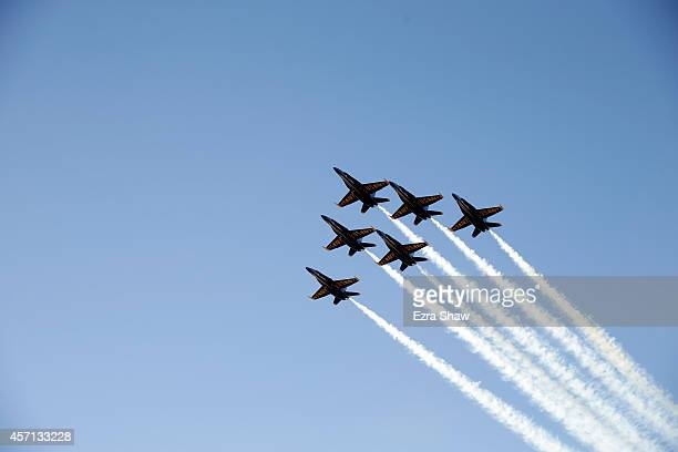 The Blue Angels fly over at Oco Coliseum during the Oakland Raiders game against the San Diego Chargers on October 12 2014 in Oakland California