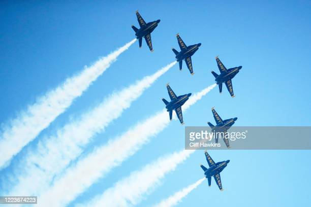The Blue Angels fly over downtown Miami on May 08, 2020 in Miami Florida. The Blue Angels took to the sky to pay tribute to the front line workers...