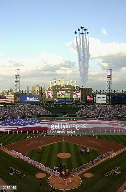 The Blue Angels fly over US Cellular Field at the end of the National Anthem during the 74th Major League Baseball All-Star Game on July 15, 2003 in...