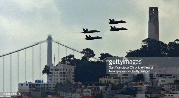 The Blue Angels take their practice rounds over San Francisco in preparation for Fleet week 10/6/06 {Frederic Larson}