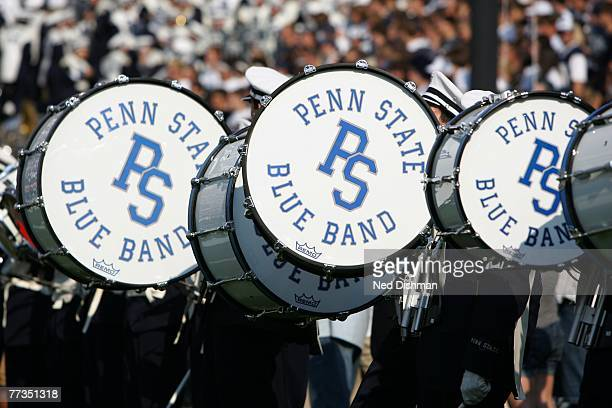 The Blue Band marching band of the Penn State Nittany Lions marches against the University of Iowa Hawkeyes at Beaver Stadium on October 6 2007 in...