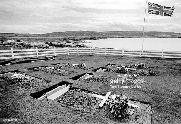 The Blue Beach War Cemetery in Port San Carlos in the Falkland Islands, October 1982. In the foreground is the grave of Lieutenant-Colonel H. Jones ,...