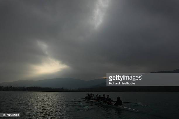 The blue boat in action during the Cambridge University Boat race Winter Training Camp at the Banyoles Olympic Rowing Lake on January 5, 2011 in...