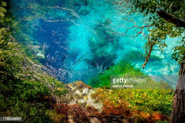 the blue eye spring (syri i kalter), near sarande, vlore country, albania, balkans, southern europe. - albanië stockfoto's en -beelden