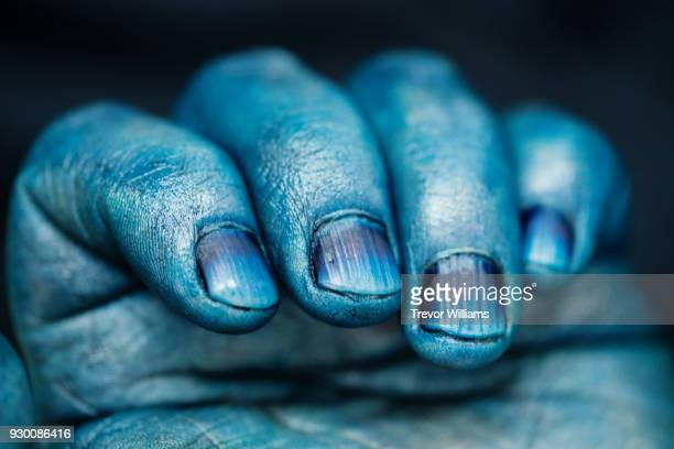 The blue hands of a traditional indigo dyeing artisan in japan