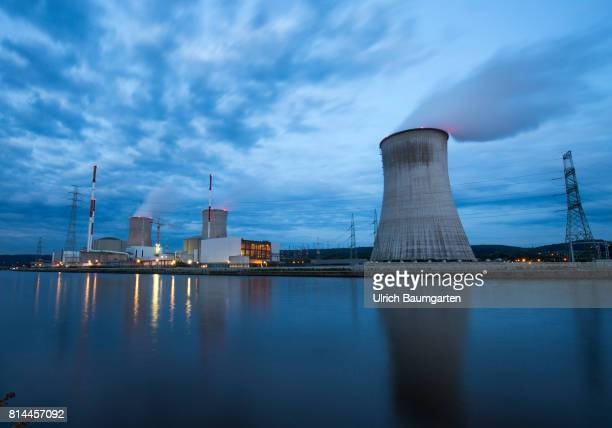 The Blue Hour exterior view of the Nuclear power station Tihange at the river Maas