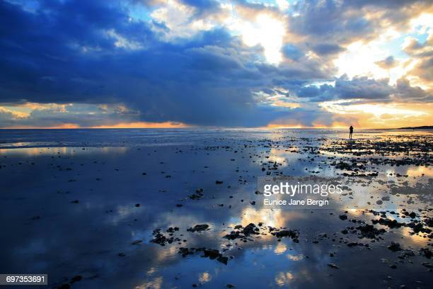 the blue hour - low tide stock pictures, royalty-free photos & images