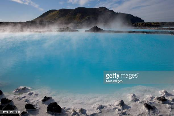 the blue lagoon a geothermal spa in southwestern iceland - iceland stock pictures, royalty-free photos & images