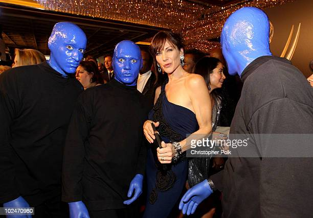 The Blue Man Group and actress Stacy Haiduk arrive at the 37th Annual Daytime Entertainment Emmy Awards held at the Las Vegas Hilton on June 27 2010...