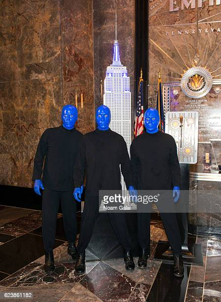The Blue Man Group lights the Empire State Building in celebration of their 25th anniversary at The Empire State Building on November 17 2016 in New...