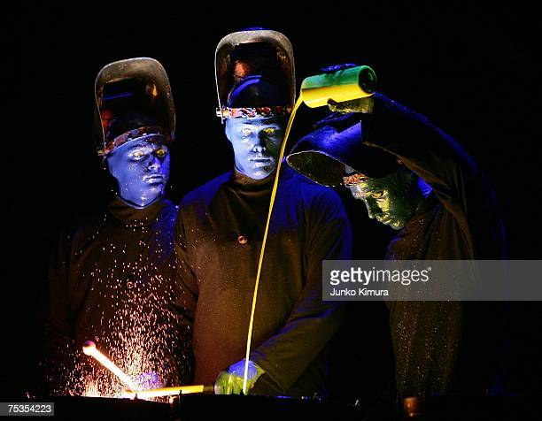 The Blue Man Group perform at Shibuya OEast on July 11 2007 in Tokyo Japan