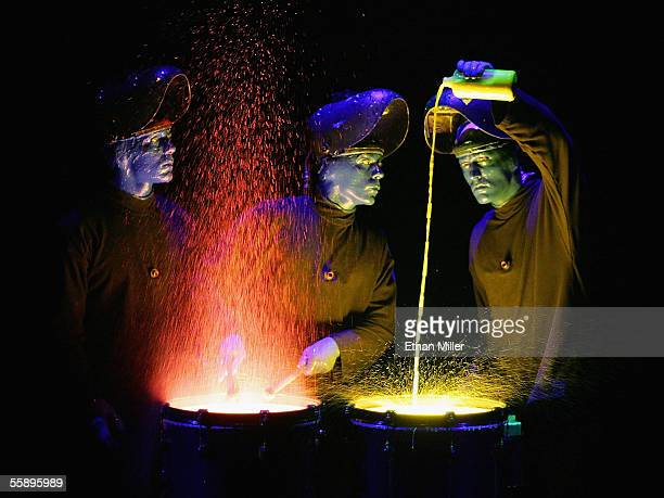 The Blue Man Group performs during their debut show at the Venetian Resort Hotel and Casino October 10 2005 in Las Vegas Nevada