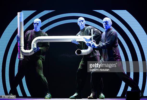 The Blue Man Group performs on stage at Mastercard Theatre Marina Bay Sands on March 31 2016 in Singapore The international entertainment phenomenon...