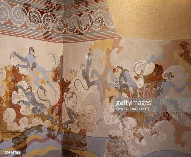 The blue monkeys fresco from B Complex room 6 of Akrotiri Thera Minoan Civilization 16th Century BC
