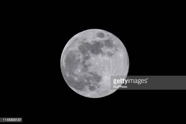 The Blue Moon, a full moon phase, the astronomical phenomenon as seen from Tenerife Island, Canary Islands in Spain on May 18, 2019.