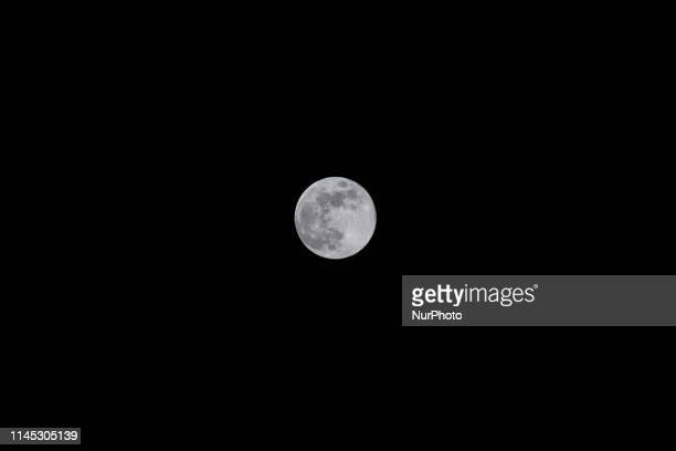 The Blue Moon a full moon phase the astronomical phenomenon as seen from Tenerife Island Canary Islands in Spain on May 18 2019