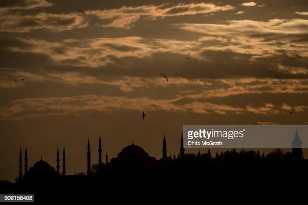 The Blue Mosque and the Hagia Sofia are seen at sunset on January 17 2018 in Istanbul Turkey An ambitious canal project that would link the...