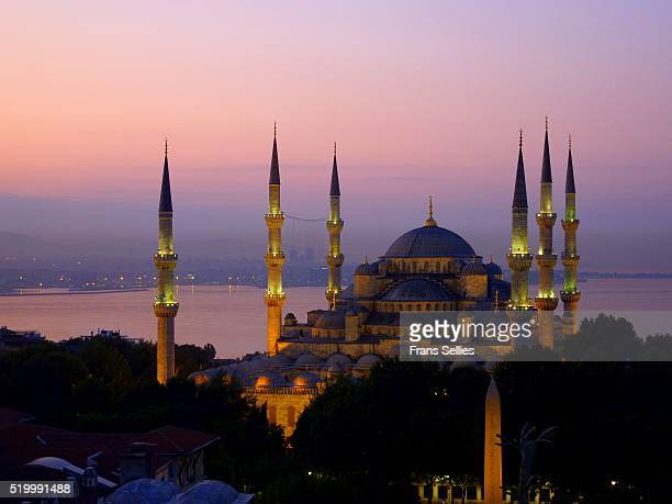 the blue mosque at dawn, historic centre of istanbul, turkey - frans sellies stockfoto's en -beelden