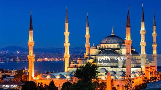 Blå moskén på natten, Istanbul, Turkiet