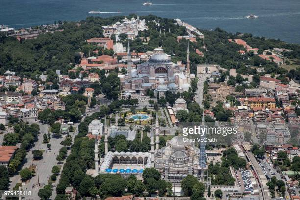 The Blue Mosque Hagia Sofia and Topkapi Palace are seen during a Kaan Air helisightseeing tour on June 20 2018 in Istanbul Turkey Presidential...