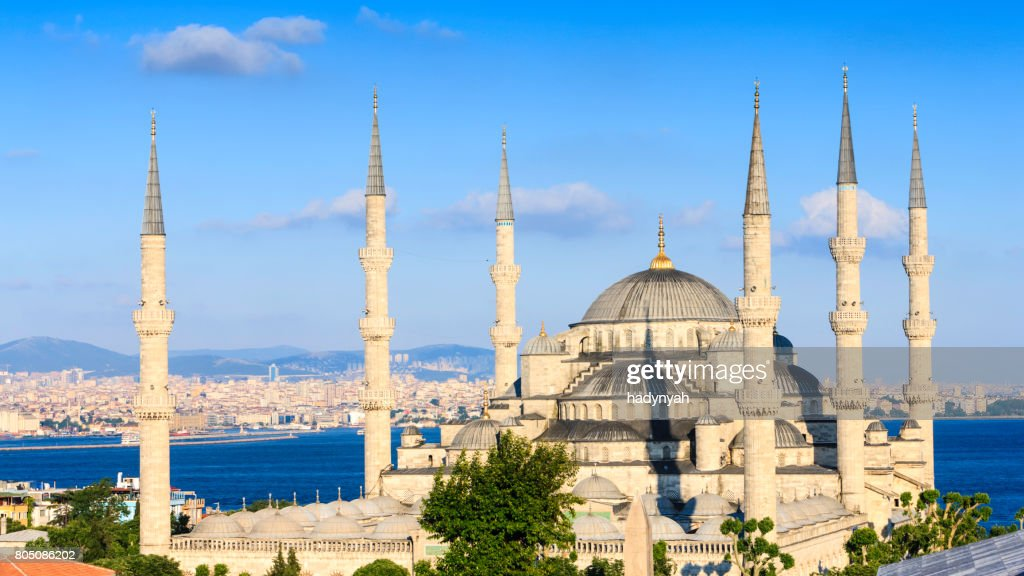 The Blue Mosque in late afternoon sun, Istanbul, Turkey : Stock Photo