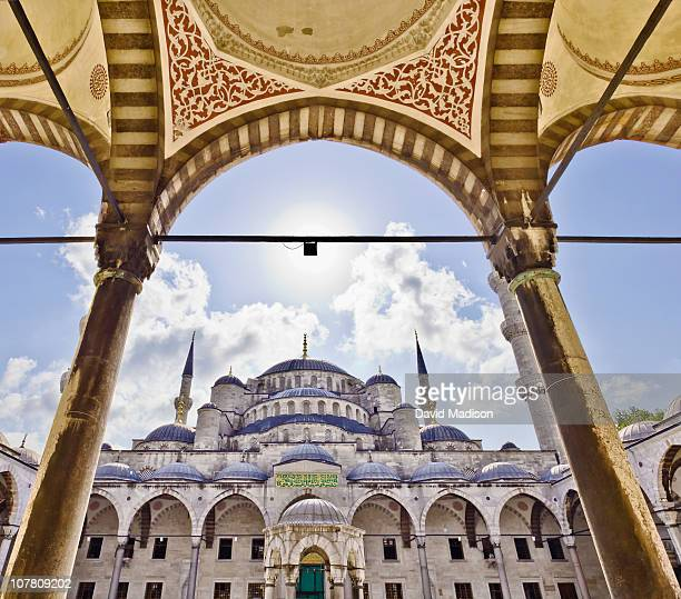 the blue mosque seen from the inner courtyard. - istanbul province stock photos and pictures