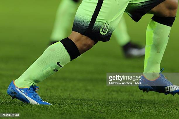 The blue Nike boots of Sergio Aguero of Manchester City during the Barclays Premier League match between Leicester City and Manchester City at The...