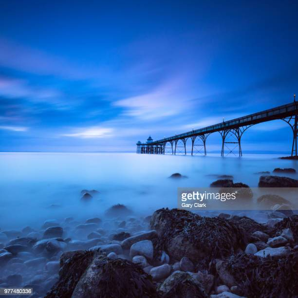 the blue pier - clevedon pier stock pictures, royalty-free photos & images