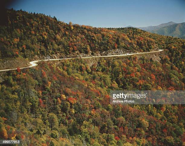 The Blue Ridge Parkway passes through the Blue Ridge Mountains in North Carolina USA circa 1970