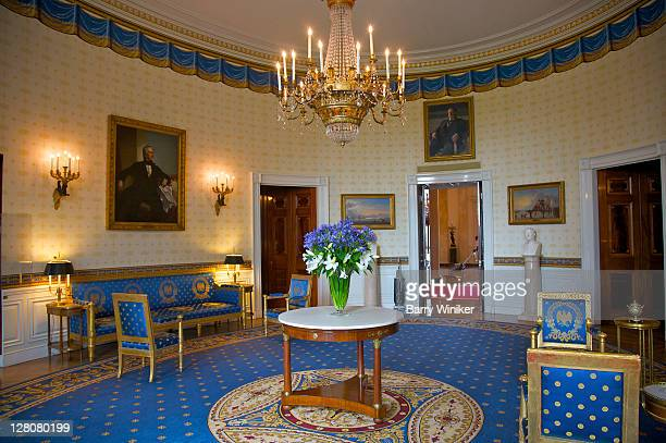 The Blue Room, decorated in the Empire style, The White House, Washington, D.C., U.S.A. Oval reception room