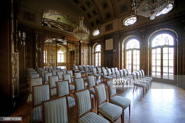 The blue room of Schloss Waldenburg palace, in Waldenburg, Germany, 29 April 2015. Since 2005, 8.5 million euro has been spent on restoring the...