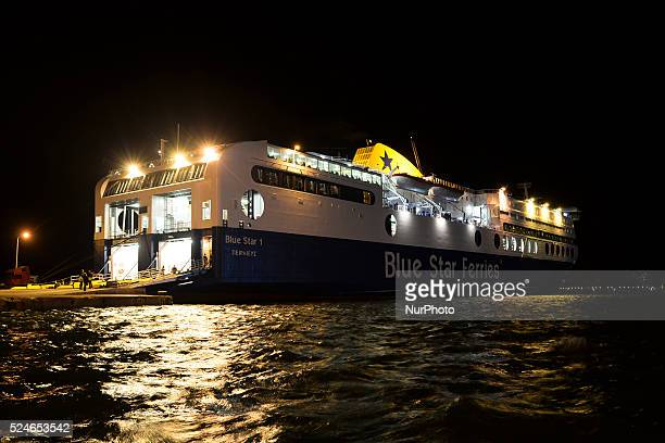 The Blue Star Ferries is leaving a harbour in Mitilini direction Athens Mitilini Lesvos Island Greece On Monday January 11 2016