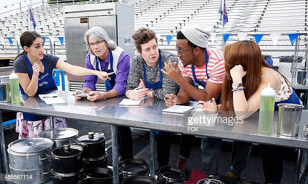 """The blue team at Thousand Oaks High School in Thousand Oaks, CA, in the """"Top 10 Compete"""" episode of MASTERCHEF airing Monday, Aug. 11, 2014 on FOX."""