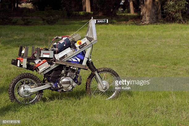The Blue Team's robotic motorcycle is tested in preparation of the DARPA Grand Challenge The Blue Team will take part in the Grand Challenge Race in...