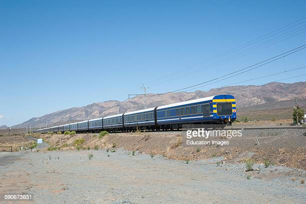 The blue Train at Matjiesfontein in the Karoo region of South Africa