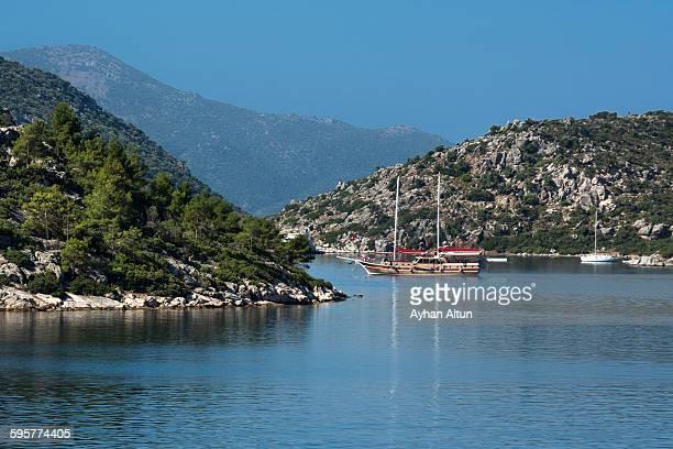 the blue voyage gulet at bozburun bay in marmaris - mugla province stock pictures, royalty-free photos & images