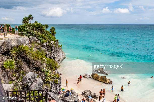 the blue water of tulum - ken ilio stock photos and pictures