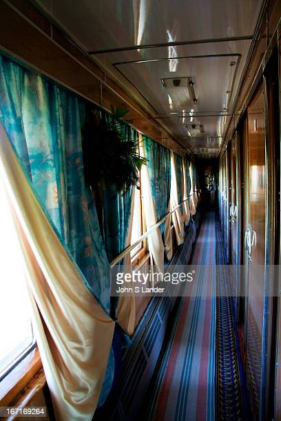 The blueandwhite theme on 'The Baikal' continues to its corridors The provinitsas keep the water boiling at the end of each corridor the carpets...