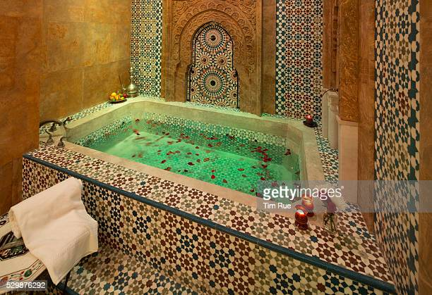 The blueandwhite tiles of the Turkish Bath came from Morocco and Turkey by way of Southeast Asia where they were assembled before being shipped to LA...