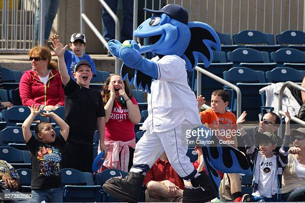 BB the Bluefish mascot entertains the crowd during the Bridgeport Bluefish V York Revolution Atlantic League Minor League ballgame at Harbor Yard...