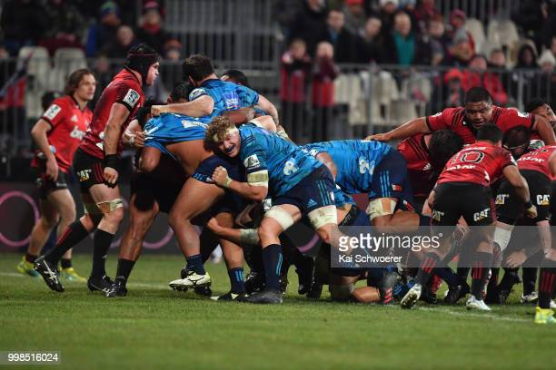 The Blues are awarded a penalty try during the round 19 Super Rugby match between the Crusaders and the Blues at AMI Stadium on July 14 2018 in...