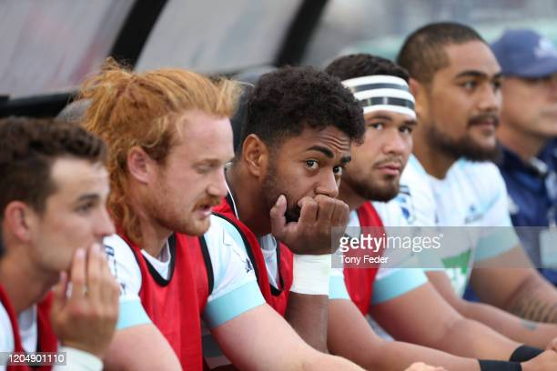 The Blues bench during the round 2 Super Rugby match between the Waratahs and the Blues at McDonald Jones Stadium on February 08, 2020 in Newcastle,...