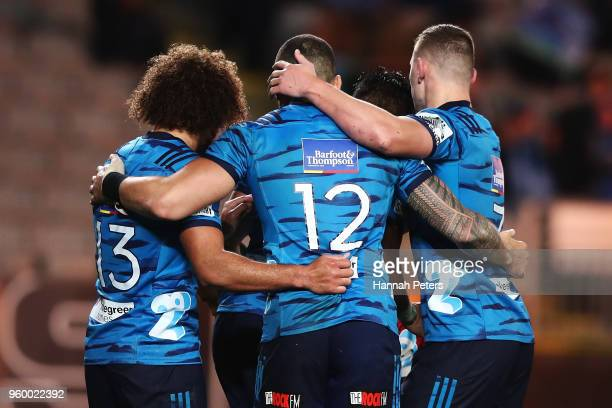 The Blues celebrate after Rieko Ioane scored during the round 14 Super Rugby match between the Blues and the Crusaders at Eden Park on May 19 2018 in...