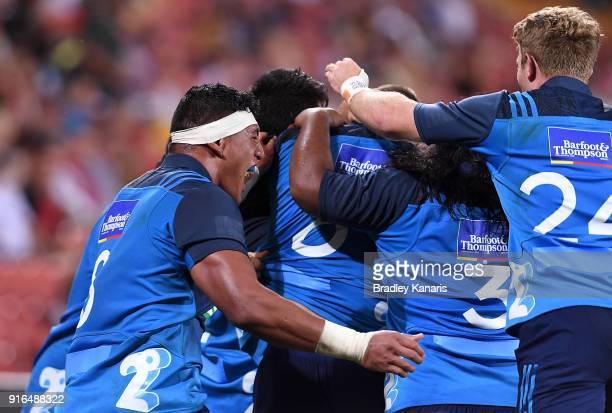 The Blues celebrate victory after defeating the Hurricanes in the 2018 Global Tens Men's Grand Final match between the Blues and Hurricanes at...