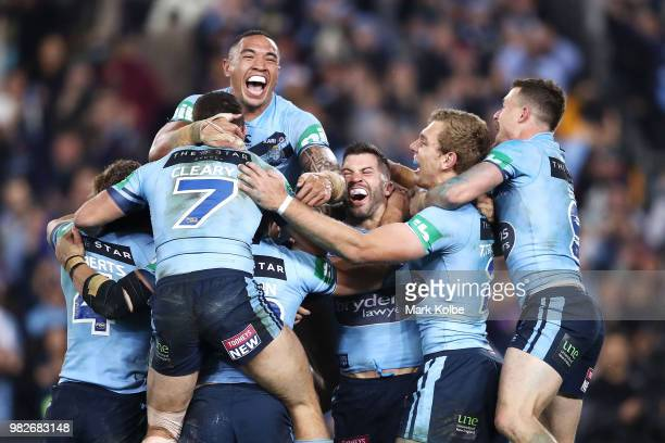 The Blues celebrate victory after game two of the State of Origin series between the New South Wales Blues and the Queensland Maroons at ANZ Stadium...